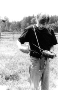 Ing.Ivan Mackerle při měření radioaktivity.